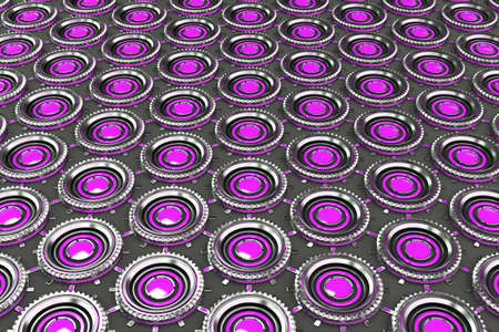 electronic circuit: Honeycomb pattern of concentric metal shapes with violet elements. Circular objects connected in grid on grey background. Abstract futuristic background. 3D rendering illustration