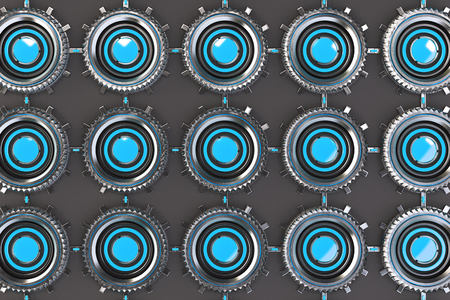 electronic circuit: Pattern of concentric metal shapes with blue elements. Circular objects connected in grid on grey background. Abstract futuristic background. 3D rendering illustration