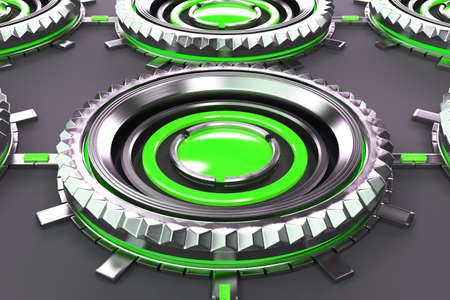 electronic circuit: Pattern of concentric metal shapes with green elements. Circular objects connected in grid on grey background. Abstract futuristic background. 3D rendering illustration