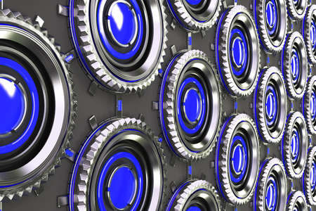 electronic circuit: Honeycomb pattern of concentric metal shapes with blue elements. Circular objects connected in grid on grey background. Abstract futuristic background. 3D rendering illustration