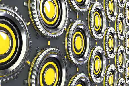 electronic circuit: Honeycomb pattern of concentric metal shapes with yellow elements. Circular objects connected in grid on grey background. Abstract futuristic background. 3D rendering illustration