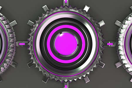electronic circuit: Pattern of concentric metal shapes with violet elements. Circular objects connected in grid on grey background. Abstract futuristic background. 3D rendering illustration Stock Photo