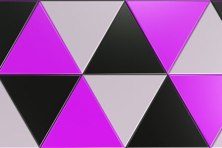 Pattern of black, white and violet triangle prisms. Wall of prisms. Abstract background. 3D rendering illustration.