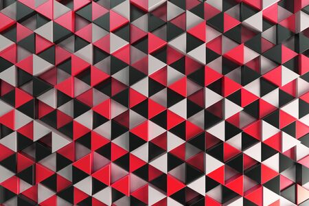 Pattern of black, white and red triangle prisms. Wall of prisms. Abstract background. 3D rendering illustration.