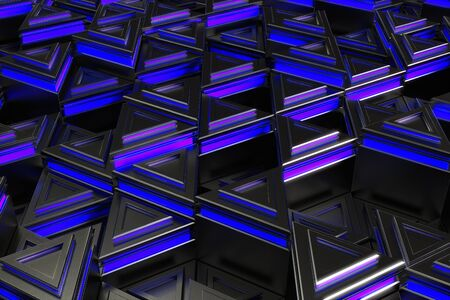 prisma: Pattern of black triangle prisms with blue glowing lines. Wall of prisms. Abstract background. 3D rendering illustration.