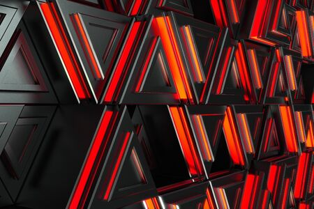 prisma: Pattern of black triangle prisms with red glowing lines. Wall of prisms. Abstract background. 3D rendering illustration.