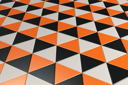 prisma: Pattern of black, white and orange triangle prisms. Wall of prisms. Abstract background. 3D rendering illustration.