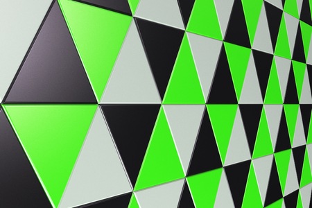 Pattern of black, white and green triangle prisms. Wall of prisms. Abstract background. 3D rendering illustration.