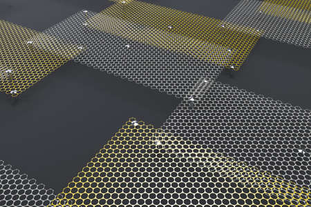 grille: White and yellow circular grates on dark grey background. Abstract background. 3D rendering illustration.