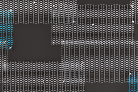 grille: White and blue circular grates on dark grey background. Abstract background. 3D rendering illustration.