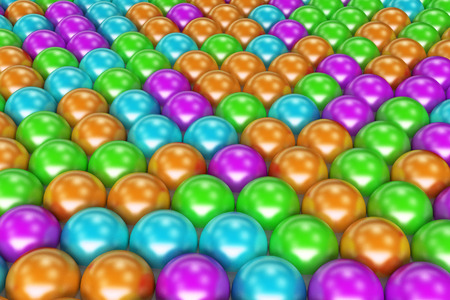 Pattern of coloreful spheres. Shiny balls. Abstract background. 3D rendering illustration Stock Photo