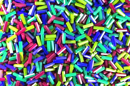 stuff: A pile of multicolored hexagon details. Abstract background. 3D rendering illustration