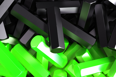 A pile symmetrically distributed black and green hexagon details. Abstract background. 3D rendering illustration