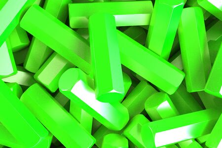 stuff: A pile of green hexagon details. Abstract background. 3D rendering illustration Stock Photo