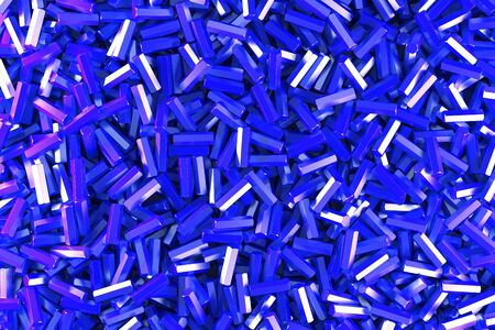 A pile of blue hexagon details. Abstract background. 3D rendering illustration Stock Photo