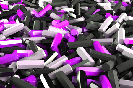 stuff: A pile of black, white and violet hexagon details. Abstract background. 3D rendering illustration