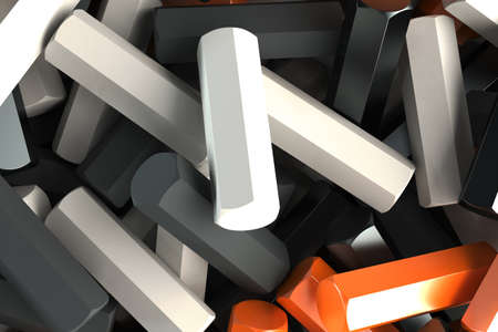 stuff: A pile of black, white and orange hexagon details. Abstract background. 3D rendering illustration