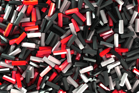 A pile of black, white and red hexagon details. Abstract background. 3D rendering illustration