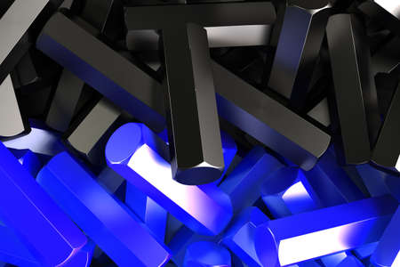 stuff: A pile symmetrically distributed black and blue hexagon details. Abstract background. 3D rendering illustration