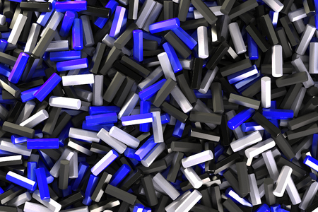 stuff: A pile of black, white and blue hexagon details. Abstract background. 3D rendering illustration