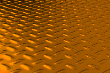 Gold dirty checkered steel plate. Abstract background. 3D rendering illustration