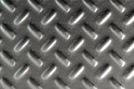 Dirty checkered steel plate. Abstract background. 3D rendering illustration