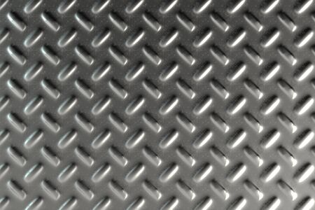 ironworks: Dirty checkered steel plate. Abstract background. 3D rendering illustration
