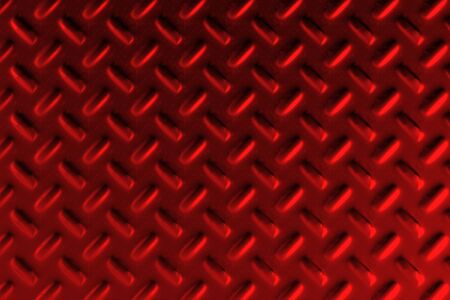 Red dirty checkered steel plate. Abstract background. 3D rendering illustration