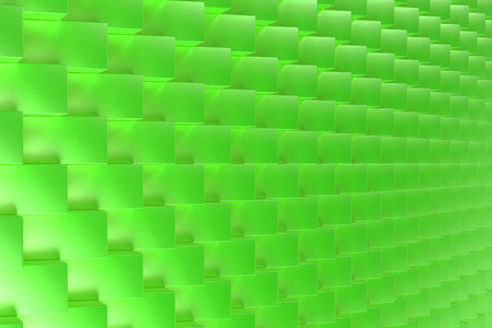 Pattern with green rectangular shapes. Wall of cubes. Abstract background. 3D rendering illustration