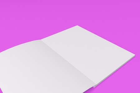 紫色の背景の空白の白いオープン パンフレット モックアップ。雑誌のスプレッドのテンプレートです。3 D レンダリングの図