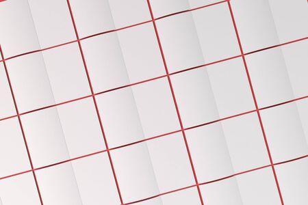 赤の背景に白い空白の開かれたパンフレット モックアップのグリッド。雑誌のスプレッドのテンプレートです。3 D レンダリングの図 写真素材