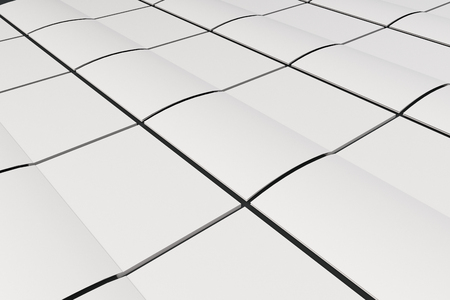 空白の白のグリッドは、黒い背景にパンフレット モックアップを開いた。雑誌のスプレッドのテンプレートです。3 D レンダリングの図