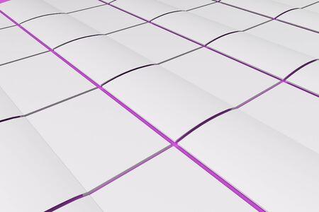 空白の白のグリッドは、紫色の背景にパンフレット モックアップを開いた。雑誌のスプレッドのテンプレートです。3 D レンダリングの図