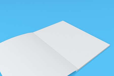 青色の背景の空白の白いオープン パンフレット モックアップ。雑誌のスプレッドのテンプレートです。3 D レンダリングの図