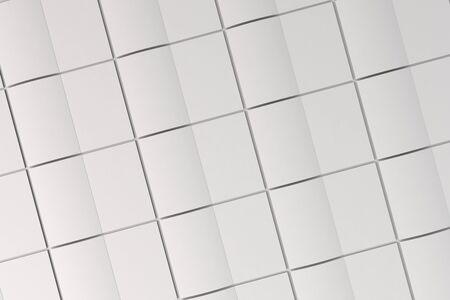 空白の白のグリッドは、白い背景の上のパンフレットのモックアップを開いた。雑誌のスプレッドのテンプレートです。3 D レンダリングの図 写真素材