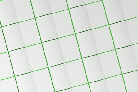 緑の背景の空白の白い開設パンフレット モックアップのグリッド。雑誌のスプレッドのテンプレートです。3 D レンダリングの図 写真素材