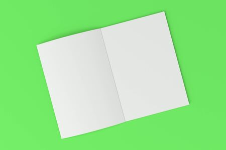 緑の背景の空白の白いオープン パンフレット モックアップ。雑誌のスプレッドのテンプレートです。3 D レンダリングの図