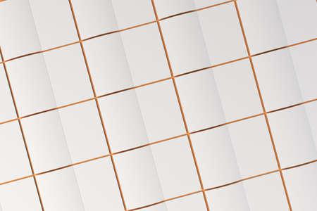 オレンジ色の背景の空白の白い開設パンフレット モックアップのグリッド。雑誌のスプレッドのテンプレートです。3 D レンダリングの図 写真素材