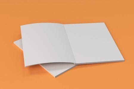 オレンジ色の背景に 2 つの空白の白いオープン パンフレット モックアップ。雑誌のスプレッドのテンプレートです。3 D レンダリングの図