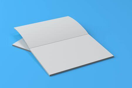 青い背景の 2 つの空白の白いオープン パンフレット モックアップ。雑誌のスプレッドのテンプレートです。3 D レンダリングの図