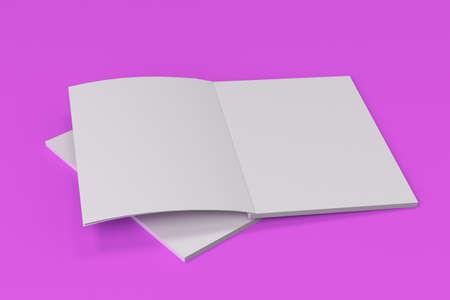 紫色の背景に 2 つの空白の白いオープン パンフレット モックアップ。雑誌のスプレッドのテンプレートです。3 D レンダリングの図