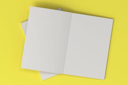 黄色の背景の 2 つの空白の白いオープン パンフレット モックアップ。雑誌のスプレッドのテンプレートです。3 D レンダリングの図