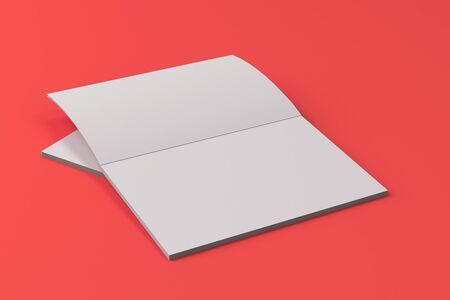 赤の背景に 2 つの空白の白いオープン パンフレット モックアップ。雑誌のスプレッドのテンプレートです。3 D レンダリングの図