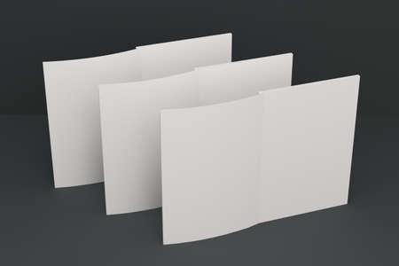 黒の背景に 3 つの空白の白いオープン パンフレット モックアップ。雑誌のスプレッドのテンプレートです。3 D レンダリングの図 写真素材