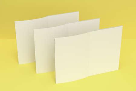 黄色の背景に 3 つの空白の白いオープン パンフレット モックアップ。雑誌のスプレッドのテンプレートです。3 D レンダリングの図 写真素材