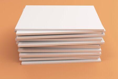 magazine stack: Stack of blank white closed brochure mock-up on orange background. Magazine cover template. 3D rendering illustration
