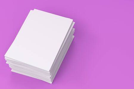 magazine stack: Stack of blank white closed brochure mock-up on violet background. Magazine cover template. 3D rendering illustration Stock Photo