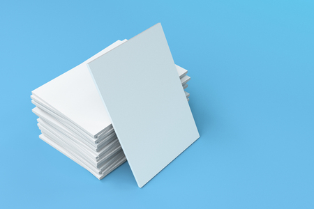 magazine stack: Stack of blank white closed brochure mock-up on blue background. Magazine cover template. 3D rendering illustration