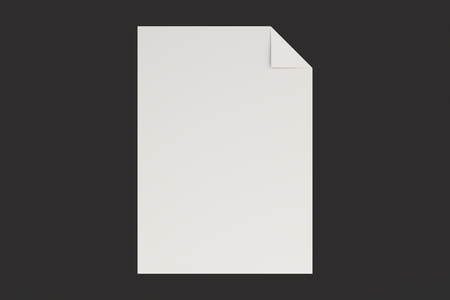 Blank White Flyer With A Curved Corner Mockup On Black Background