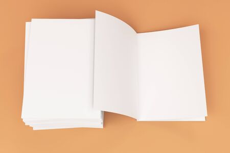 catalog: Stack of blank white closed and one open brochure mock-up on orange background. Magazine cover template. 3D rendering illustration Stock Photo
